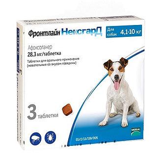 Фронтлайн Нексгард таблетки от блох и клещей для собак весом от 4 до 10 кг