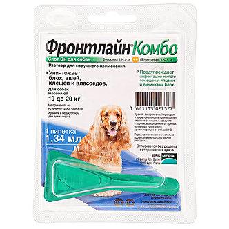 Фронтлайн Комбо капли от блох и клещей для собак весом от 10 до 20 кг 1 пипетка.