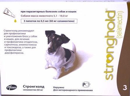 Капли на холку Стронгхолд для собак от 5.1 до 10 кг 1 пипетка