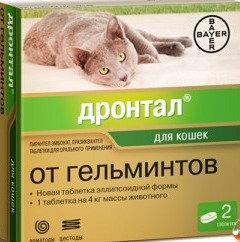 Антигельминтный препарат Дронтал для кошек до 4 кг, 2 таб.