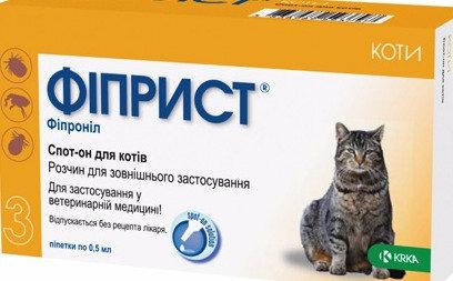 ФИПРИСТ Спот Он капли на холку от блох и клещей для кошек.