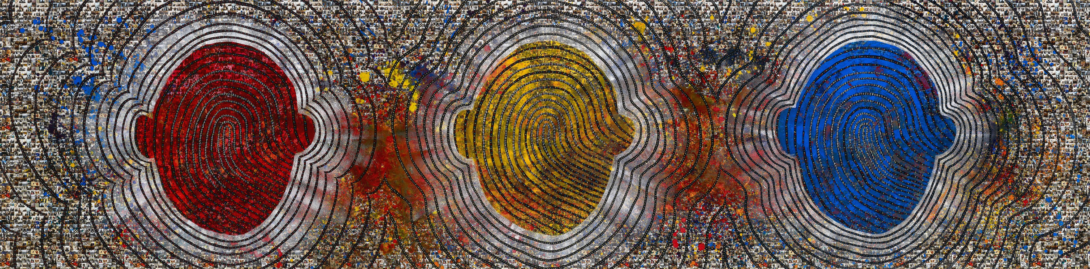see the finger print see the perfection 500 x 114cm Acrylic on digital printing 2016