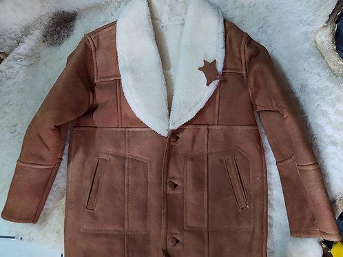 Chamarra Marlboro cuero y lana natural y original zalea