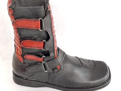 Botas de piel modelo 01 combinada rojo