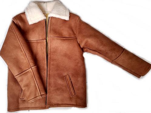 Chamarra Marlboro cuero y lana natural y original zalea corta