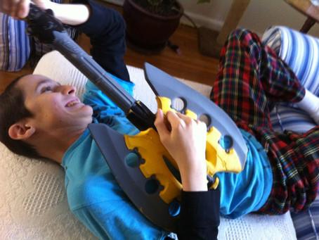 Young rock musician having a blast