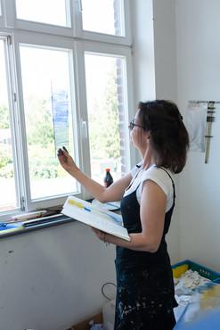 Überprüfung Glasmuster bei Firma Derix, Kevelaer