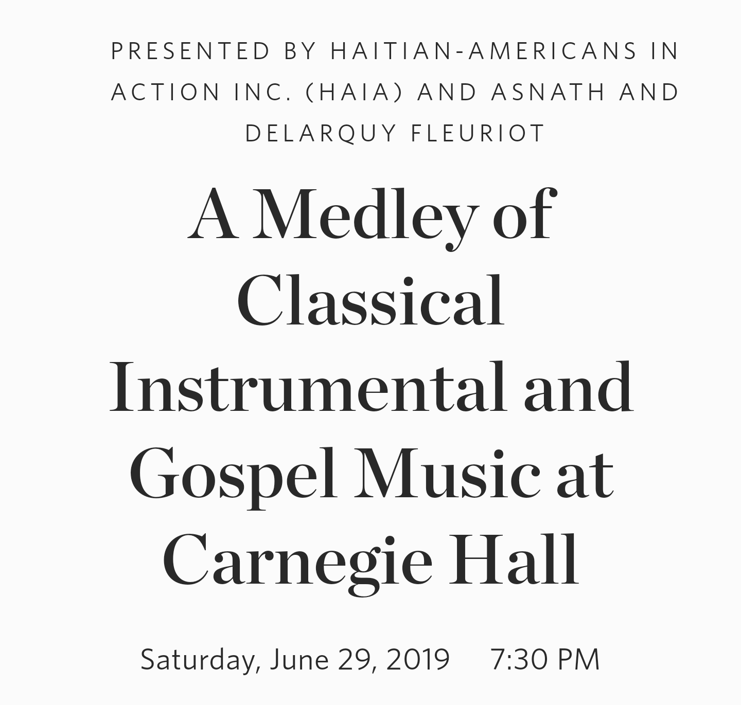 CARNEGIE HALL PREMIERE!: A Medley of Classical and Gospel Music