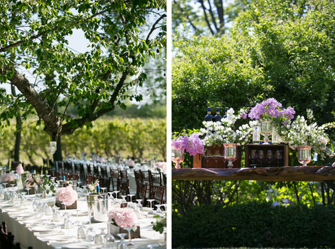 Toronto wedding photographers Little Blue Lemon captures rustic vineyard decor with tables lined with pink purple flowers