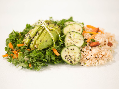 avocado rice and a bed of kale