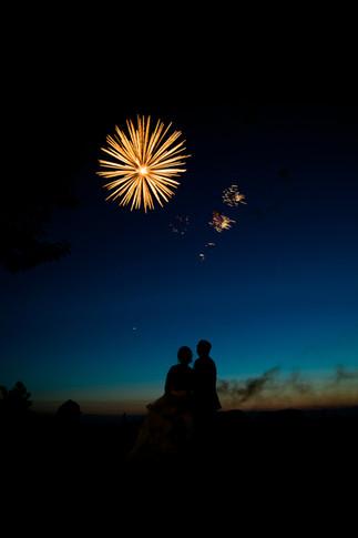 Best Toronto wedding photographers Little Blue Lemon captures bride groom and fireworks, Piper's Heath Golf Course