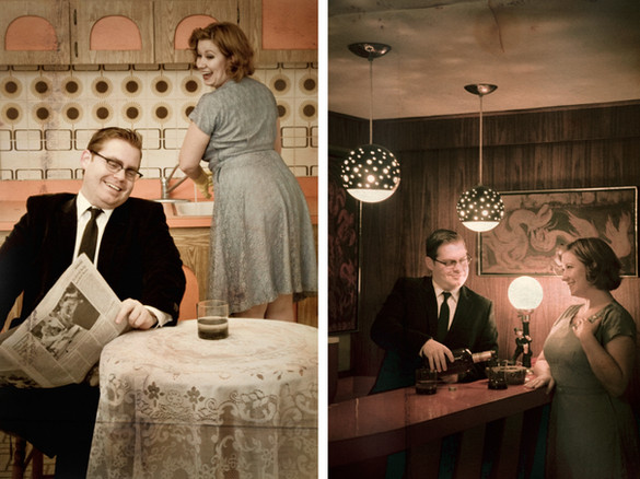 Best wedding photographers Toronto Little Blue Lemon captures a 60's themed engagement shoot with authentic 60s decor