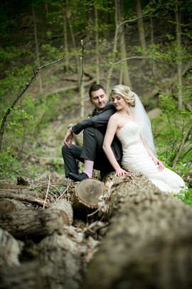 Top wedding photographers Toronto Little Blue Lemon captures a bride and groom sitting on a tree stump