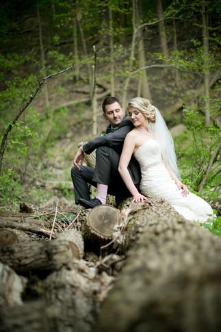 Top wedding photographers Toronto Little Blue Lemon captures a bride and groom sitting on a tree stump