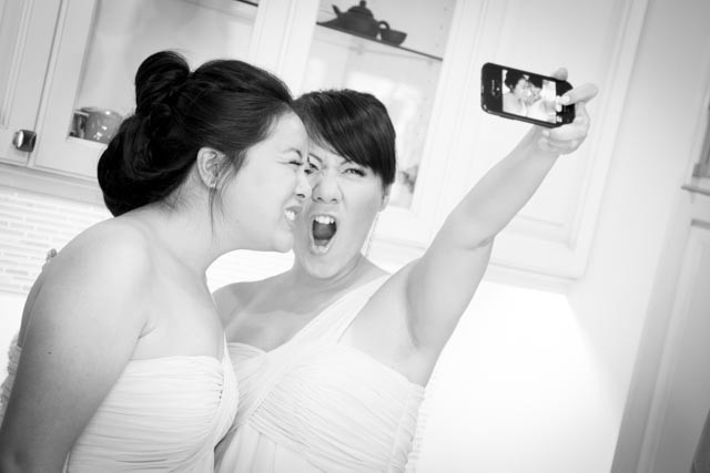 stunning Toronto wedding photography by Little Blue Lemon bridesmaids taking a funny selfie