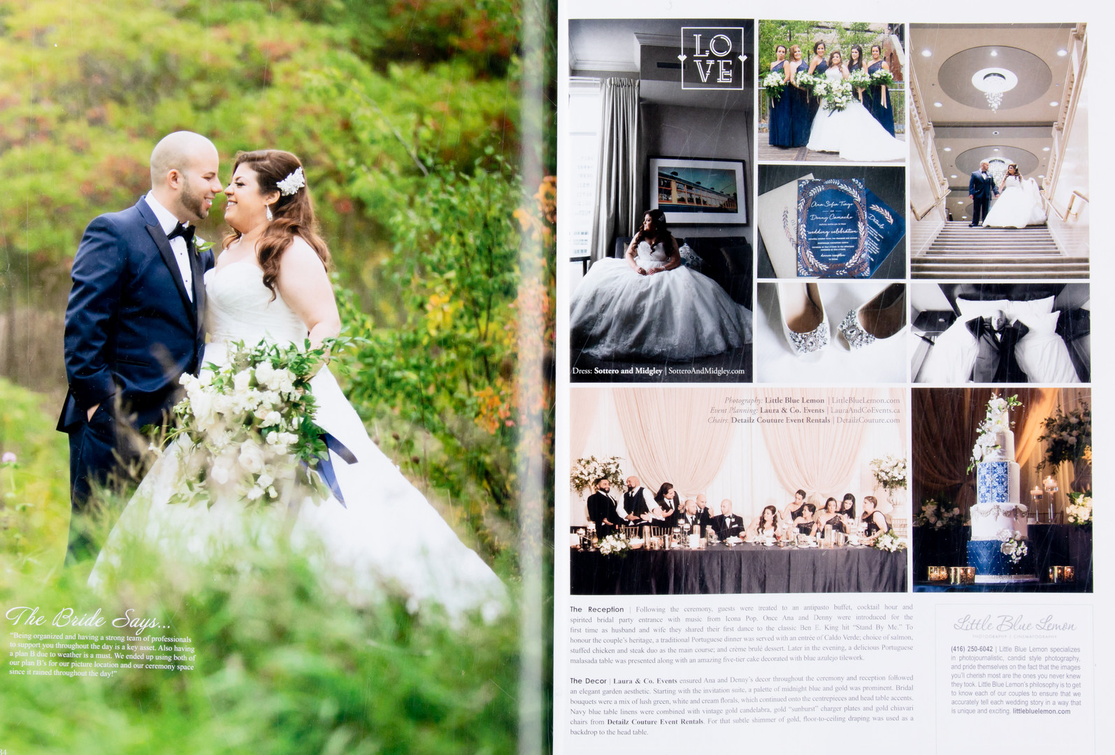 Top Wedding photographers Toronto Little Blue Lemon published images of bride in sottero and midgley