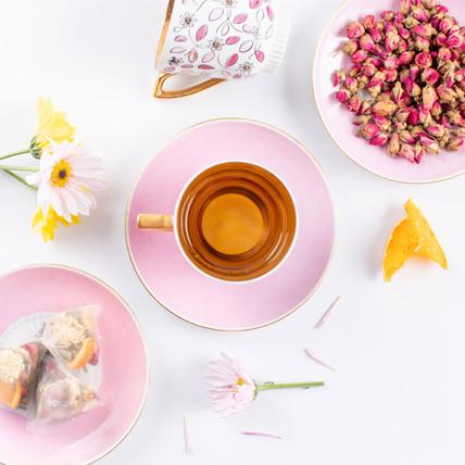 Beautiful artisan tea prepared by Bodhi Tree showcasing Rose Hips