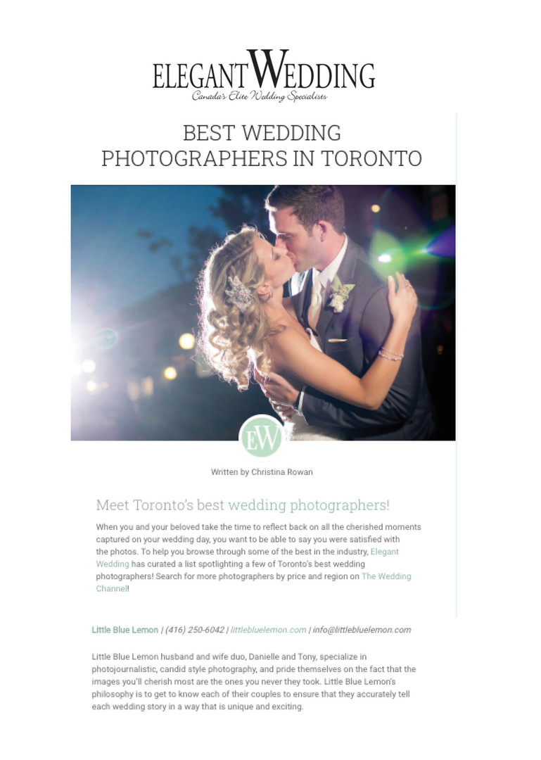 Best Wedding Photographers Toronto Little Blue Lemon voted BEST in Toronto Elegant Wedding Magazine