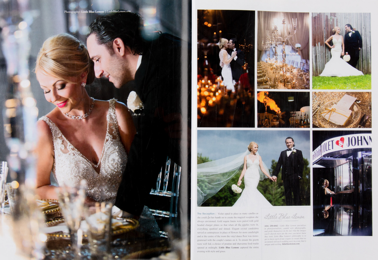 Toronto wedding photographer Little Blue Lemon published wedding spread of bride with two eye colors
