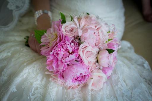 Best Toronto wedding photographers Little Blue Lemon captures pastel pink peonies in wedding bouquet