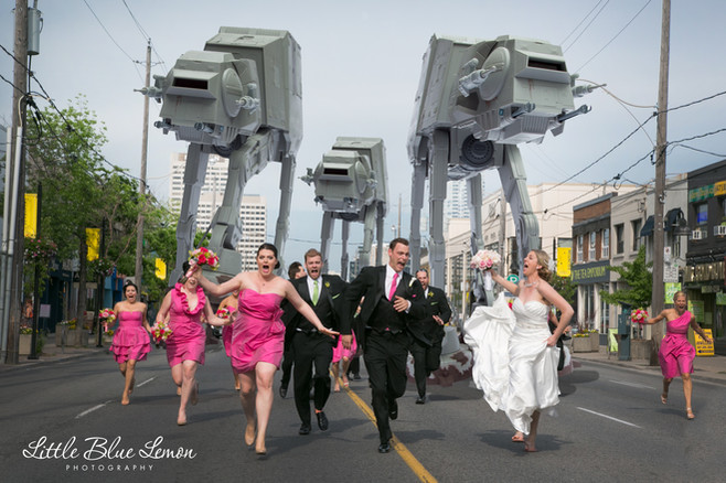 Famous viral photo by Toronto photographers Little Blue Lemon  Star Wars AT-AT chasing bridal party