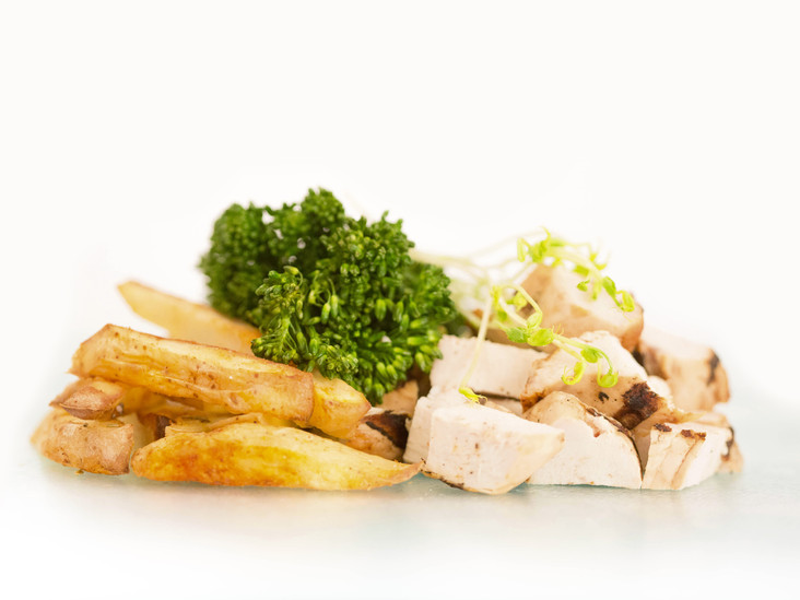 chicken and fries gourmet style