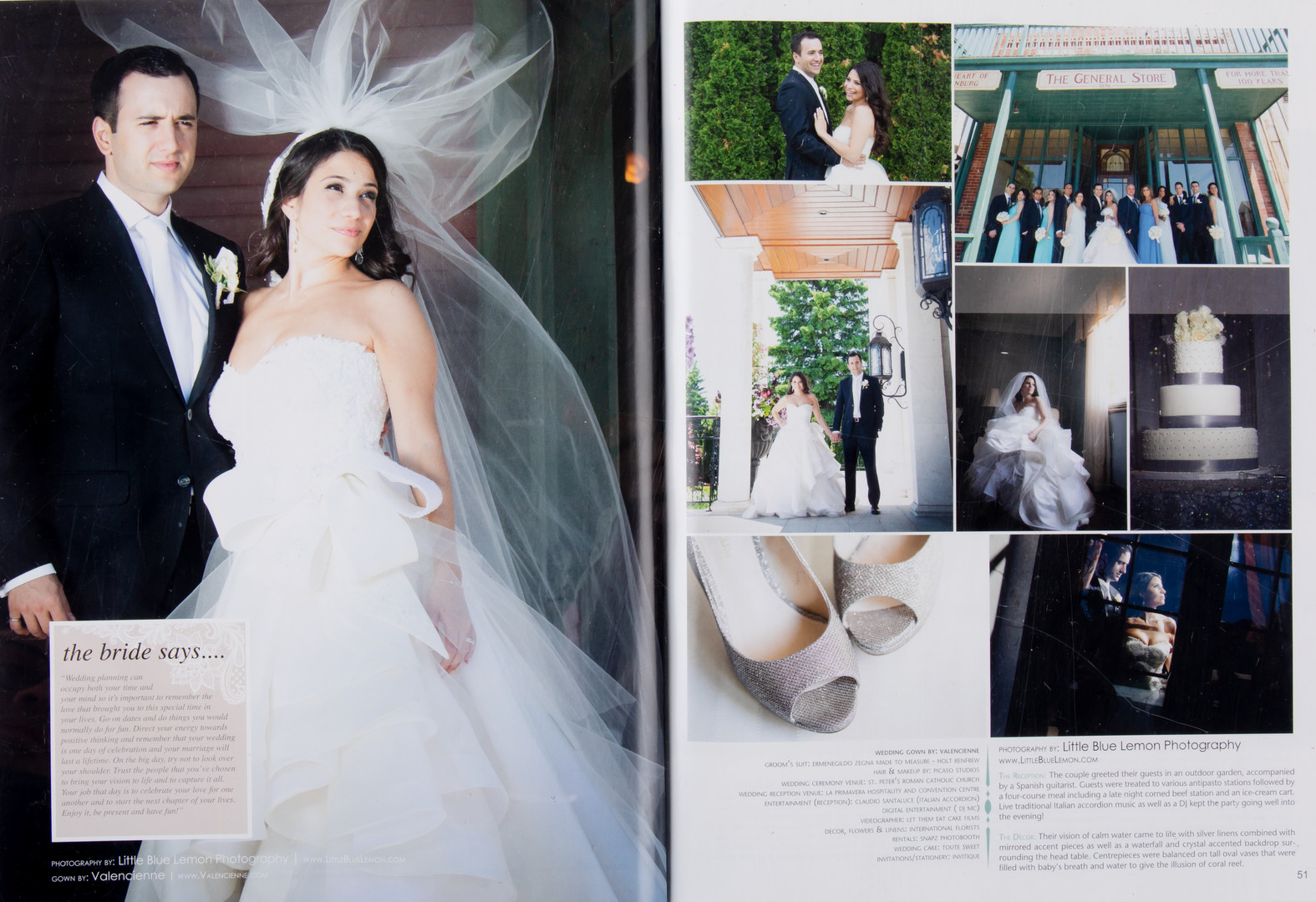 Toronto wedding photographer Little Blue Lemon published luxury bride in Valencienne gown