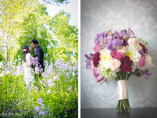 Best wedding photographers Toronto Little Blue Lemon captures a bride and groom surrounded by a field of wild flowers