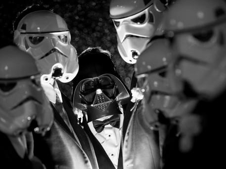 Toronto wedding photographer Little Blue Lemon captures groomsmen wearing Star Wars Storm Trooper and Darth Vader masks