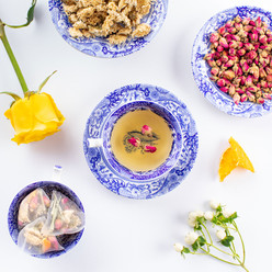 Beautiful artisan tea prepared by Bodhi Tree showcasing Rose Hips and cammomile