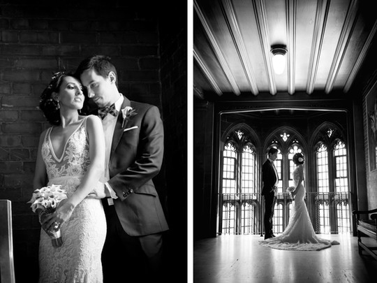Top wedding photographers Toronto Little Blue Lemon captures classic portraits of a bride and groom at the historic UofT