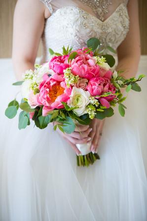 Toronto wedding photographers Little Blue Lemon capture rustic bridal bouquet of pink peonies