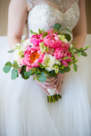 Toronto wedding photographers Little Blue Lemon capture rustic bridal bouquet of pink peonies
