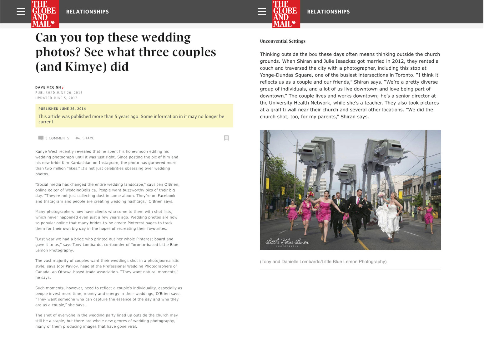 Top Wedding Photographer Toronto LittleBlueLemon Star Wars Wedding Photo in Globe and Mail
