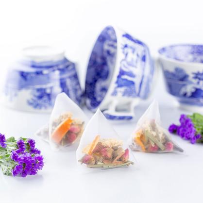 Beautiful artisan tea prepared by Bodhi Tree showcasing Blue Italian Spode China
