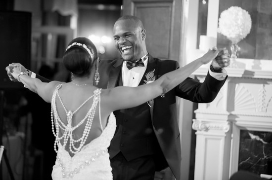 Toronto wedding photographer Little Blue Lemon captures  joyous groom during first dance Sunnybrook Estates