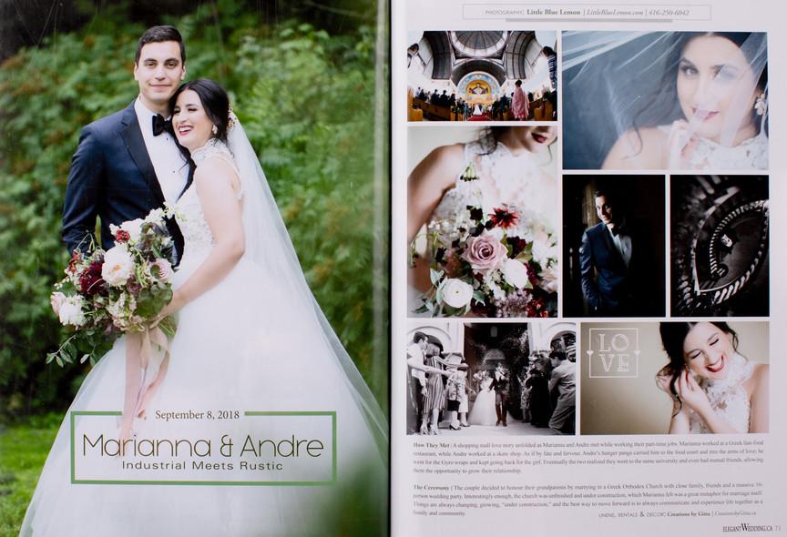 Little Blue Lemon top wedding photographers toronto published in Luxury Elegant Wedding Magazine, Toronto