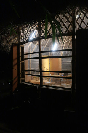 Light falling out of the window in the night