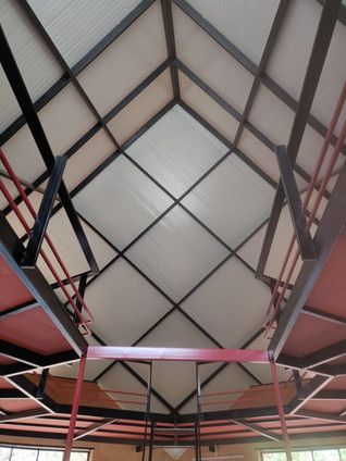 geometric patterns formed by metal frame