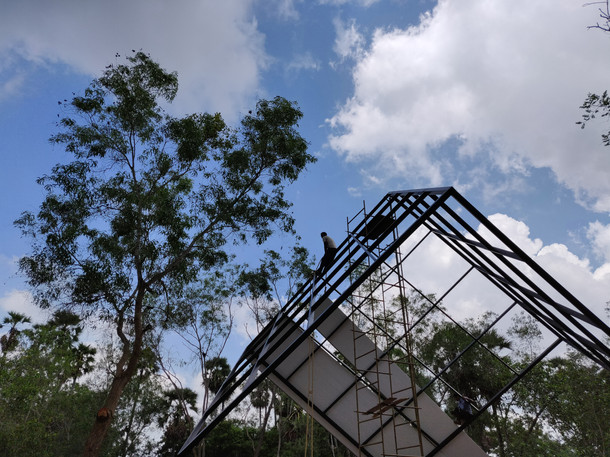 Main space frame under construction