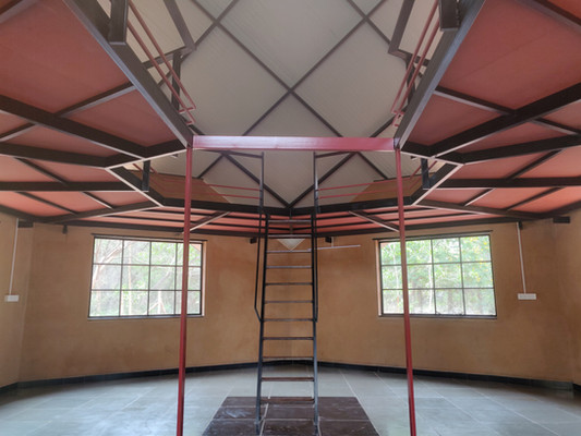 staircase leading to the mezzanine floor