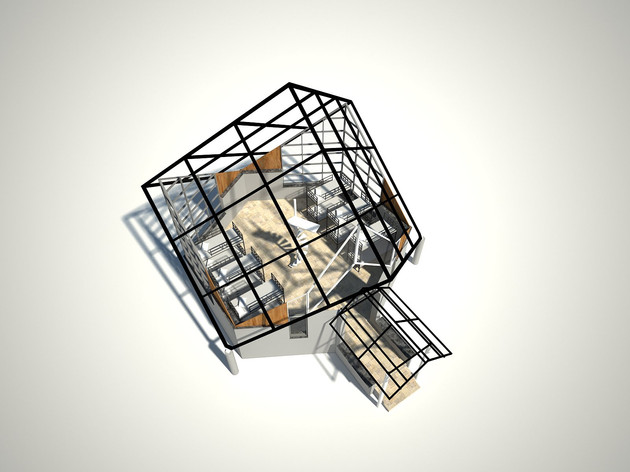rendered view without the mezzanine floo