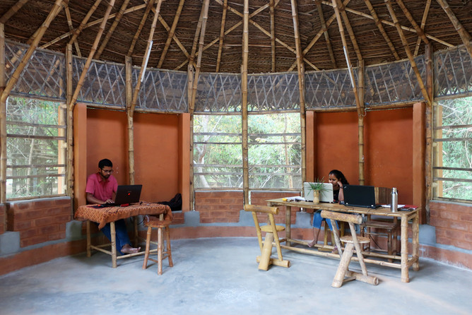 Workspace, inbuilt seating niches and bamboo furniture.