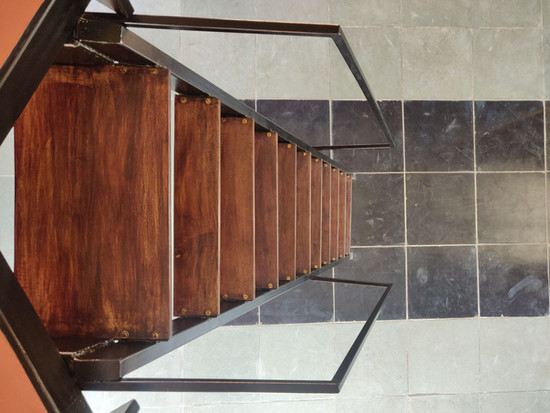metal staircase with recycled wood tread