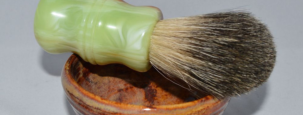 Handturned Badger Shave Brush - Jade Green
