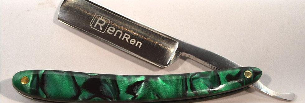 Custom Straight Razor in Green Scales