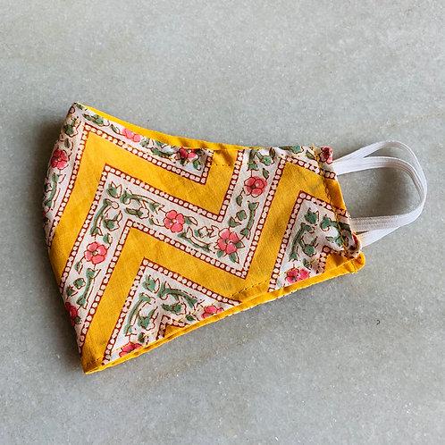 Yellow Zikzak Printed- Cotton Mask