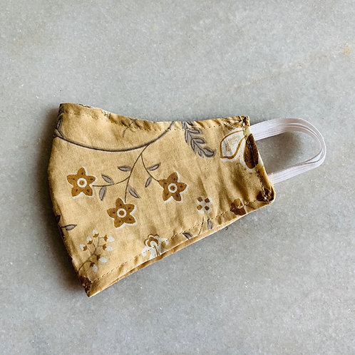 Brown Floral Printed- Cotton Mask