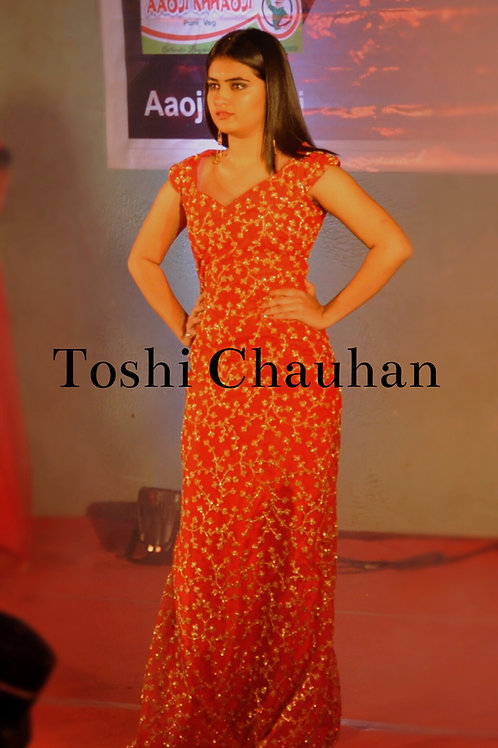 Red Evening Gown with Gold Work