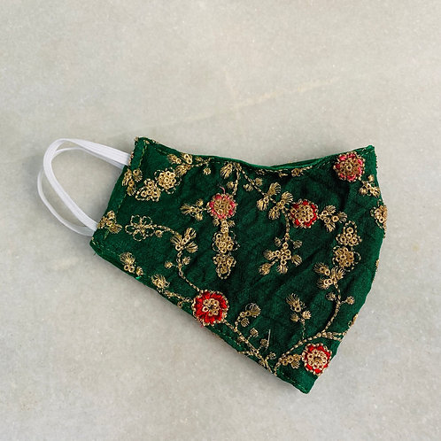 Green embroidered mask